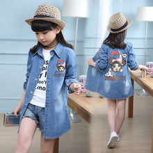 2019 New Autumn Girls  Coat Toddler Clothes Full Sleeve jeans Windbreaker Kids Trench Outerwear Tops 6 9 12 Y 3016