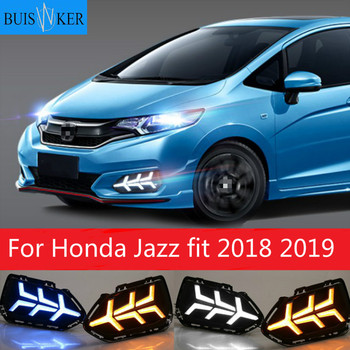 2pcs LED Daytime Running Lights DRL Fog lamp cover with Yellow turning signal lights For Honda Jazz fit 2018 2019