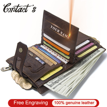 Vintage Genuine Cow Leather Men Wallet Fashion Coin Pocket Zipper&Hasp Organizer Wallects High Quality Male Card ID Holder 2020
