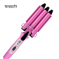 Professional Electric Hair Curler 3 Barrels Fast Heat Curling Wand Iron Tools Adjustable Digital Hair Waver Styling 220V Eu Plug 3