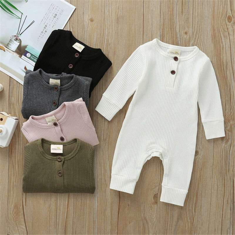 Spring Autumn Baby Clothes Newborn Infant Baby Boy Girl Cotton Solid Romper Knitted Ribbed Jumpsuit Warm Outfit