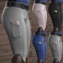 Calças de equitação calças de cavalo magro calças legging lápis ajuste fino remendo no joelho apertadas capris chaps bootcut rider para mulher