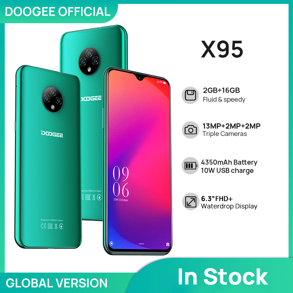 DOOGEE X95 Cellphones 6.52''MTK6737 16GB ROM Dual SIM 13MP Triple Camera 4350mAh SmartPhones Mobile Phone Android 10 OS 4G-LTE 1