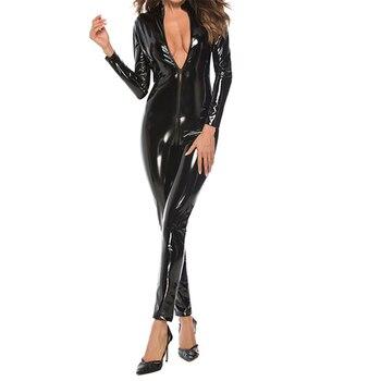 Women Jumpsuit Wet-look Zipper Patent Leather Sexy Black Latex Female Uniform Bodysuit Dance Wear PVC Catsuit