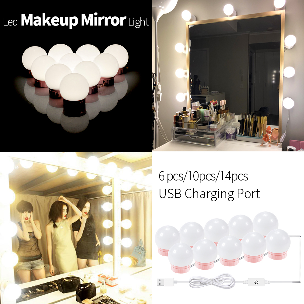 12V Makeup Table Mirror Light Led Hollywood Vanity Lamp Led Dressing Table 10 Bulbs Kit USB 5V Dimmable Make Up Cosmetic Bulb 6