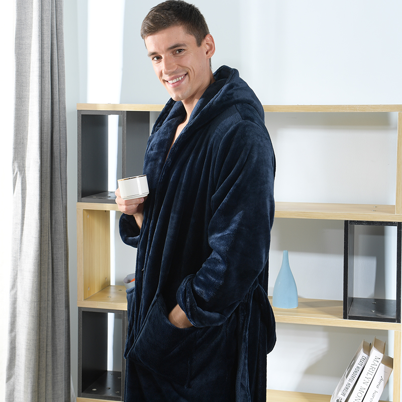 High Quality Plus Large Size Winter Bathrbobes For Men Soft Flannel Extra Long Loose Hooded Male Bath Robes 200cm 140kg