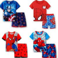 Conjunto de pijama de algodón para niño, ropa de dormir con cuello redondo y dibujos animados, de manga corta