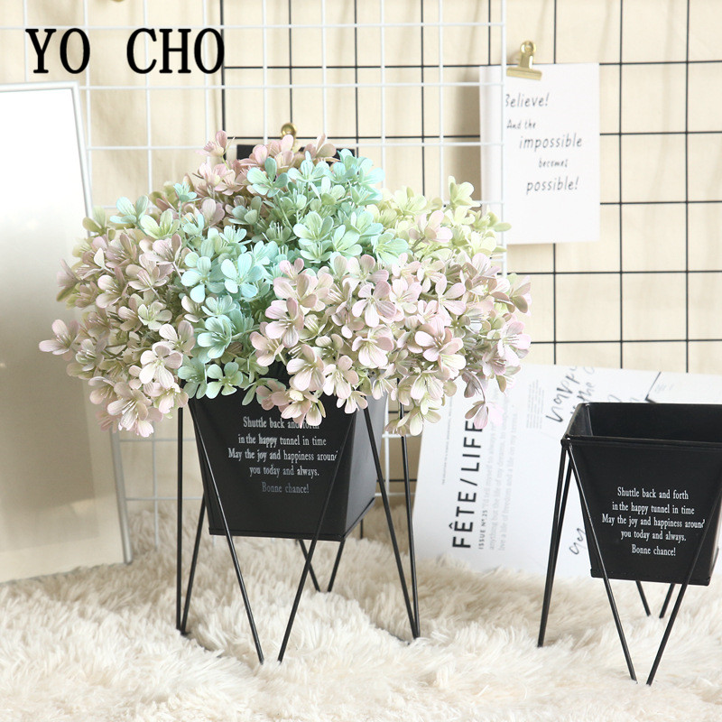 YO CHO Fake Plum Blossom Grass Plants Branch Artificial Plants Plastic Fake Flowers Garden Home Wedding Artificial Grass Plants
