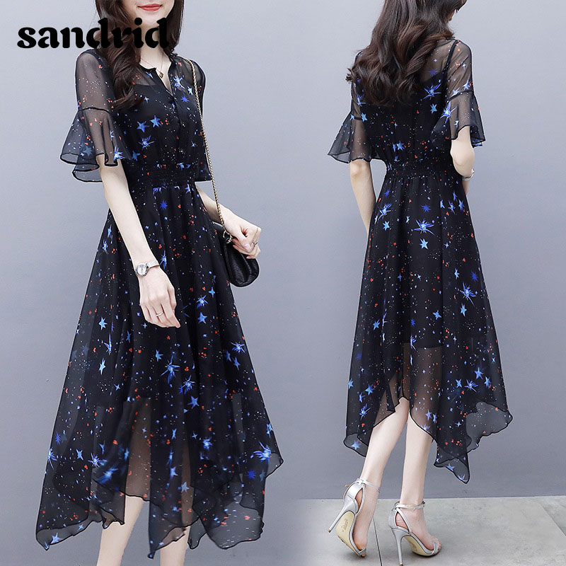 Summer Women's Dress New Slim MIDI Flared Sleeve Irregular Elegant Star Print Chiffon Dress