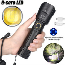 2021 Powerful 9 Core XHP100 LED Fashlight XHP Hand Lamp USB Rechargeable Torch Zoomable 26650 Tactical Flash Light