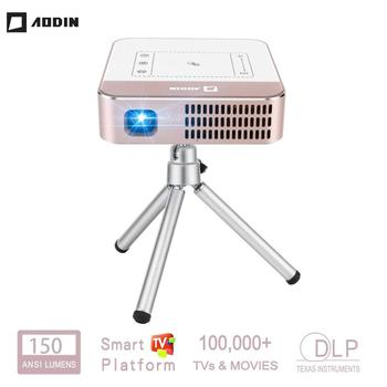 цена на AODIN WOW Portable Mini WIFI Smart HD Projector 150 Ansi Lumen LED DLP TV Projector 4K Supported Stream 100000+ TV & Movies