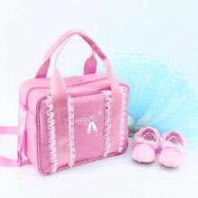 Sport Gym Grils Kids Dance Embroidered Sequin Ballet Shoes Pink Handbags Waterproof Canvas Bag For Children