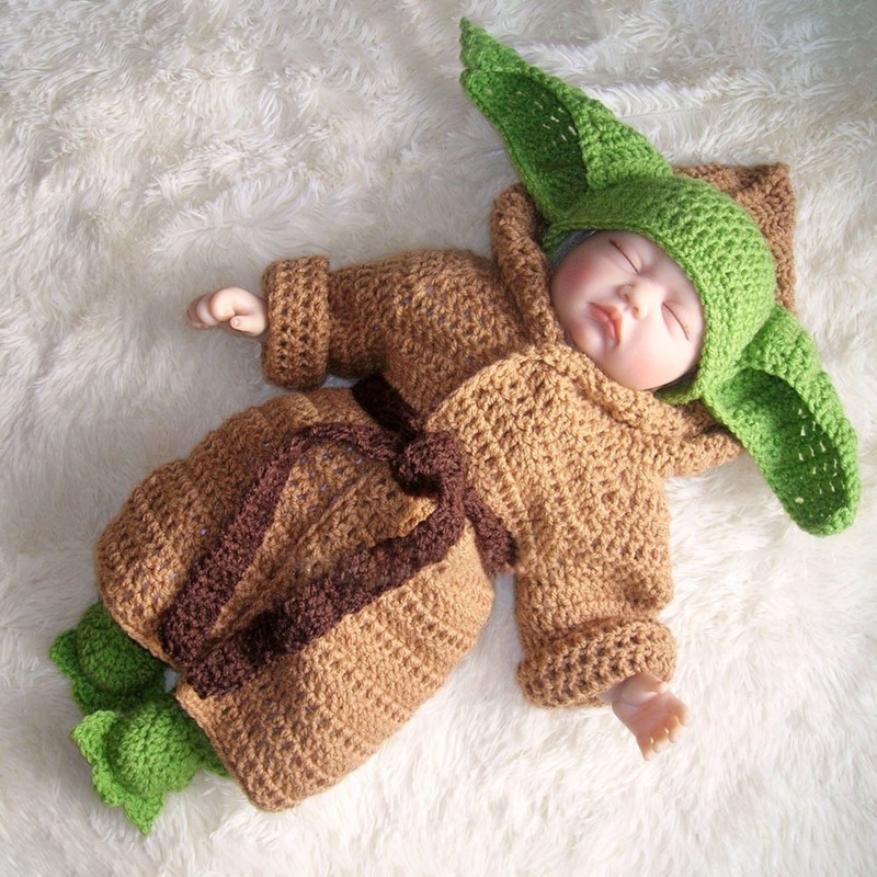 5PCS Soft Newborn Photography Props Baby Yoda Costume Handmade Crochet Knitted Baby Clothing Set Baby Hat Coat Shoes For Photo