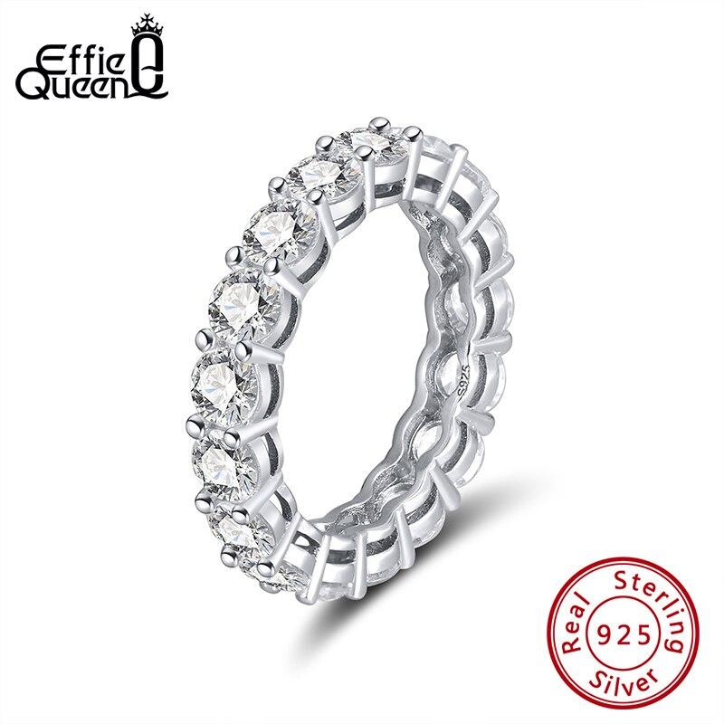 Effie Rainha das Mulheres de Prata Esterlina Anel de Aliança de Casamento Eternidade Round Zircon 925 Anéis de Prata Casal de Mulheres Jóias DSR167