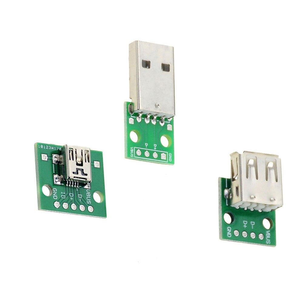 10PCS Micro Mini USB USB A Male USB 2.0 A Female USB B Connector Interface to 2.54mm DIP PCB Converter Adapter Breakout Board