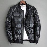 Men Winter Warm Genuine White Duck Down Flight Coats Large Size Real Leather Sheepskin Bomber Jackets Aviation