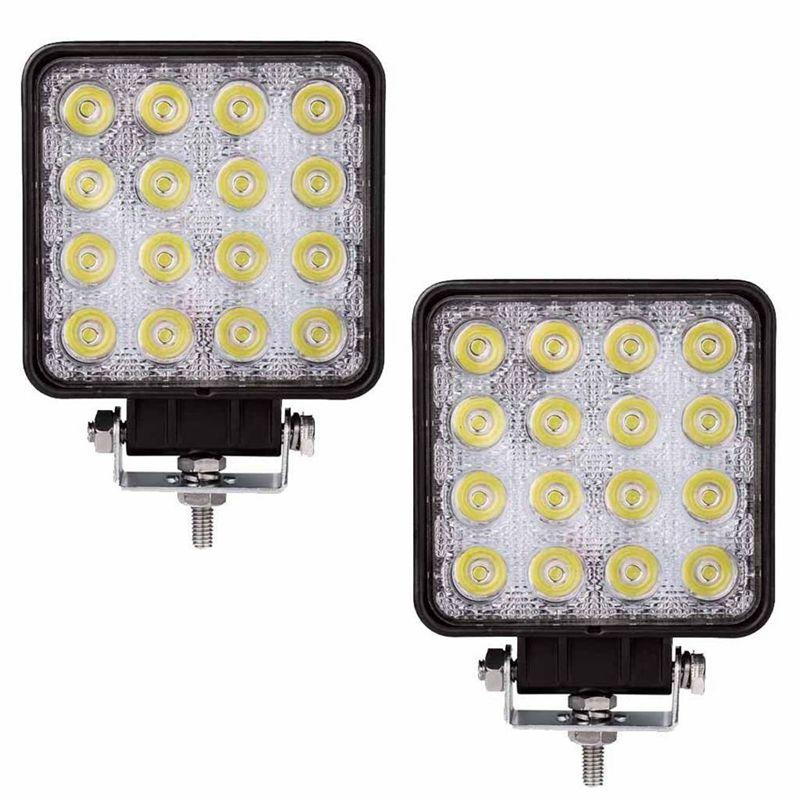 2 Pcs 48W 6000k LED Spot Beam Square Work Lights Lamp Tractor SUV Truck 4WD 12V 24V