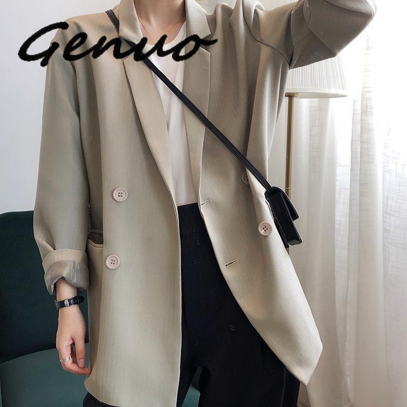 Genuo New 2019 Autumn Winter Women Black Blazers And Jackets Vintage Khaki Loose Womens Blazers Long Sleeve Coat
