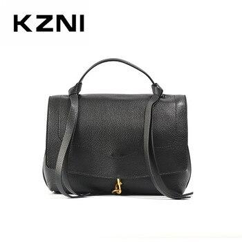 KZNI Genuine Leather Purse Crossbody Shoulder Women Bag tote bag Clutch Female Handbags Sac a Main Femme De Marque 9306