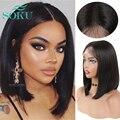 Короткие синтетические кружевные передние парики для афро черных женщин, SOKU, естественный цвет, волнистые вьющиеся волосы, средней части, п...