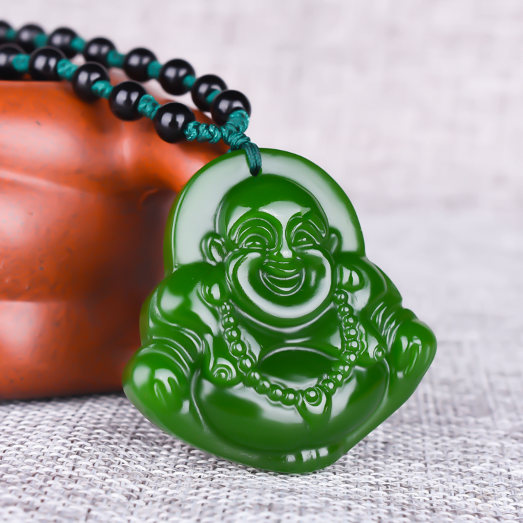Hand Carved Chinese Natural Black Green Jade Pendant Lucky Amulet Gifts Buddha