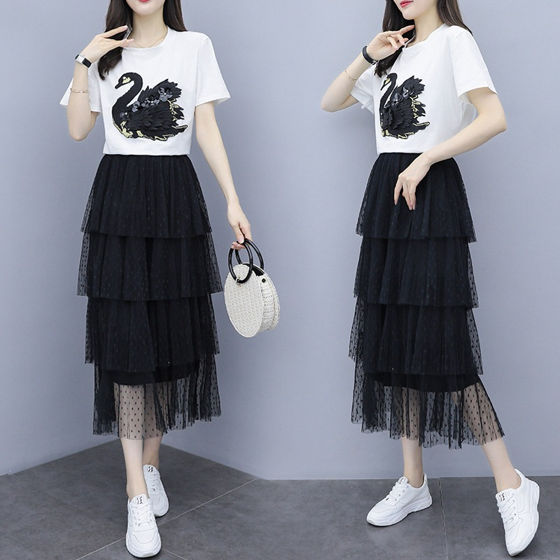Large Size Dress 2019 Summer Wear New Style Fashion Swan Embroidered Tops Polka Dot Cake Mesh Skirt Fashion Two-Piece Set