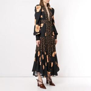Image 2 - TWOTWINSTYLE Patchwork Print Dress For Women V Neck Lantern Sleeve High Waist Dresses Female 2020 Autumn Large Size Fashion New