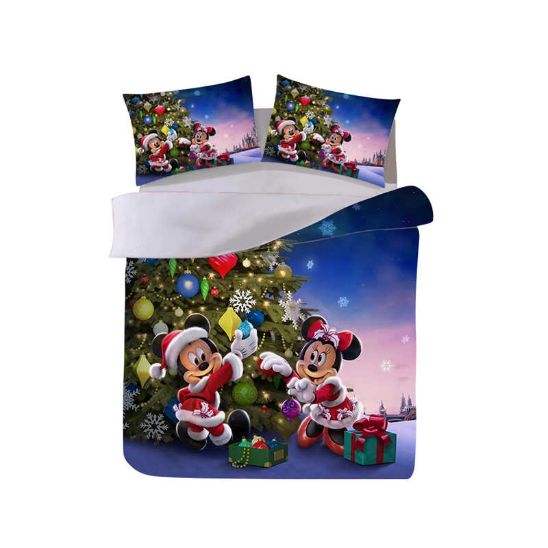 Mickey Minnie Christmas Tree Bedding Set  Duvet Cover Pillowcase  Home Textile Adult Children Gift Queen King Size Bed Set