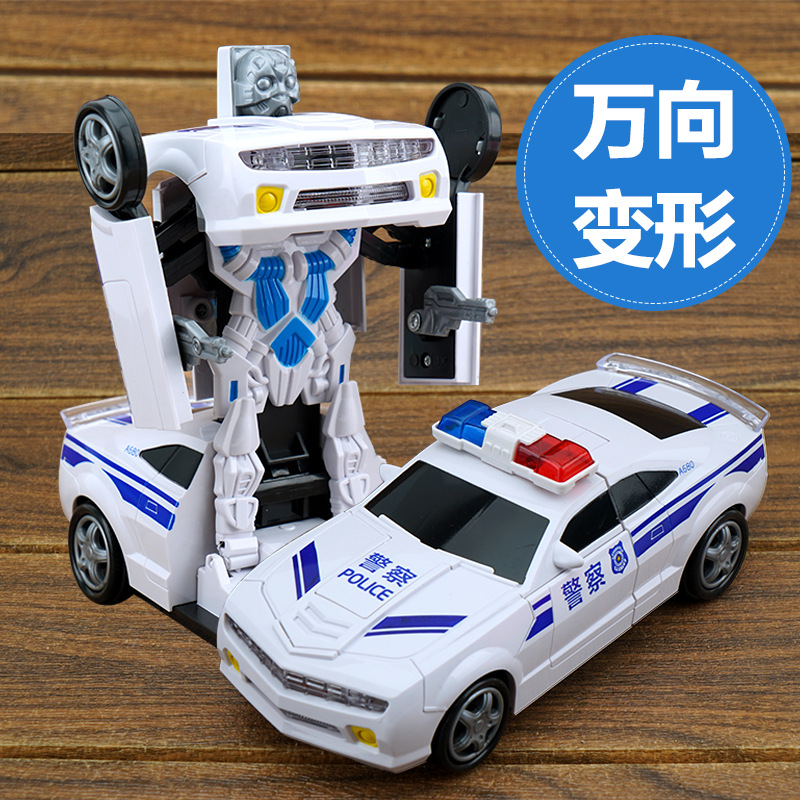 Electric Universal Non-Remote Control Police Car Race Car Deformation Robot Automatic Transformation 5 Children Toy Car Batch