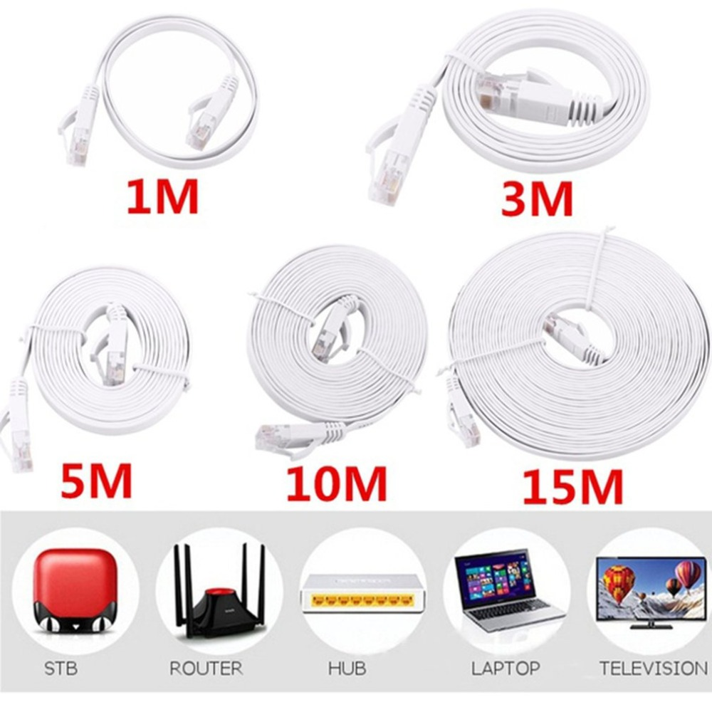 CAT6e Flat Network Cable Laptop Ethernet Cable RJ45 LAN Cord PC Wire Computer Line 0.5m 1m 2m 3m 5m 10m 15m Hot Drop Shipping