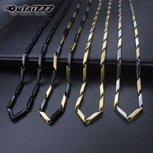 Oulai777 stainless steel men necklace accessories women punk hip hop jewelry male gold chain long pendant byzantium