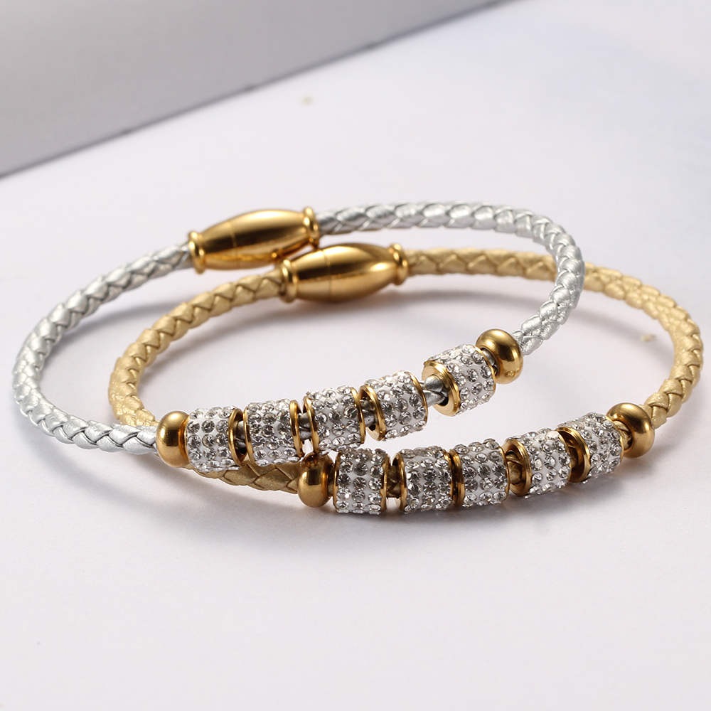 Fashion women's fashion jewelry leather rope stainless steel rope bracelet stainless steel charm bracelet