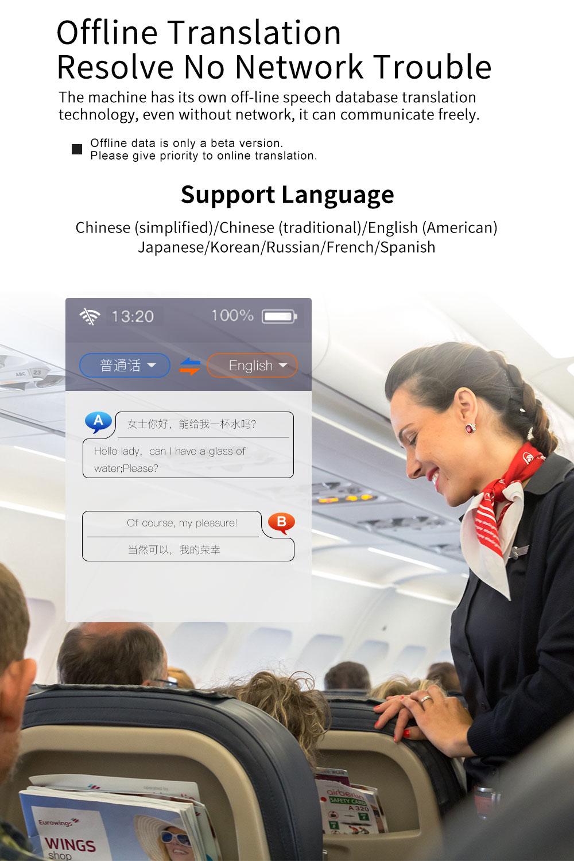 Macchina traduzione 77 lingue W1 simultanea intelligente offline voce Inglese traduttore multi lingua di traduzione 4G - 2