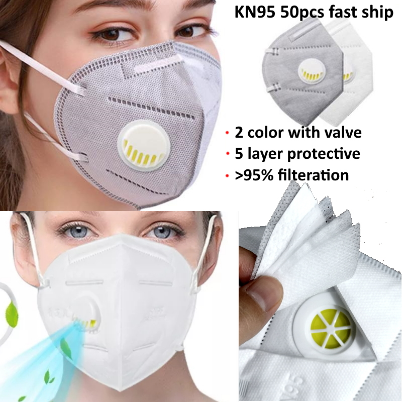DHL UPS Fedex Fast SHIP Shipping KN95 N95 Face Mask Mouth Filter With VALVE  Vent  Protective Respirator Reusable FFP2 FFP3