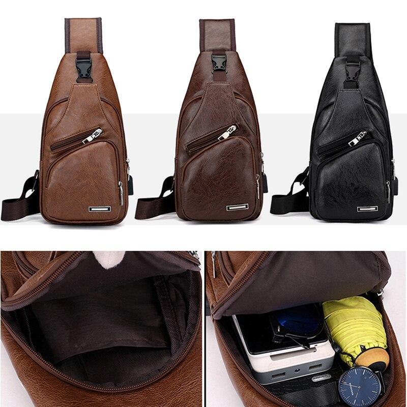 NEW Men Sport Chest Bag Vintage PU Zipper Open Crossbody Bag With Earphone Holes