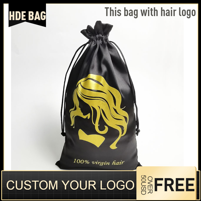 Satin Hair Bag For Packaging Jewelry/Makeup/Gift/Wedding/Party/Storage/Shoe Bag Silk Cloth Pouch Sachet Pocket Custom Logo Print