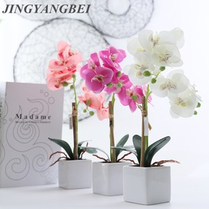 Silk Butterfly Orchid Ceramics Bonsai Artificial Flowers with Leaves Vase Set Home Decor Wedding Decoration Potted Plants