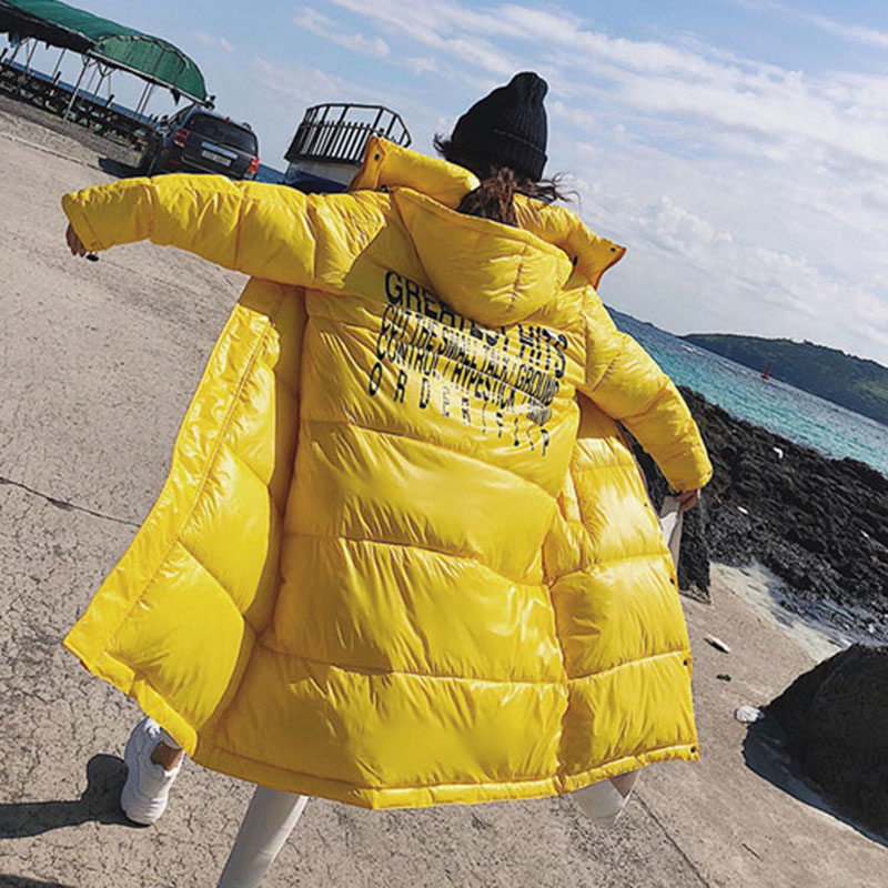 Plus size Casual Black/yellow Winter Jacket Women 2019 Long Thick Warm   Parka   Coat Women Fashion loose Hoodies Cotton Padded MY78