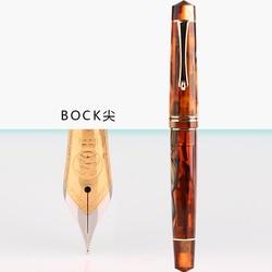 Nueva pluma estilográfica de resina Moonman 800 de Alemania importada n. ° 6 plumín BOCK 35 #0,5mm con convertidor de color marrón Clip dorado para escribir pluma de regalo