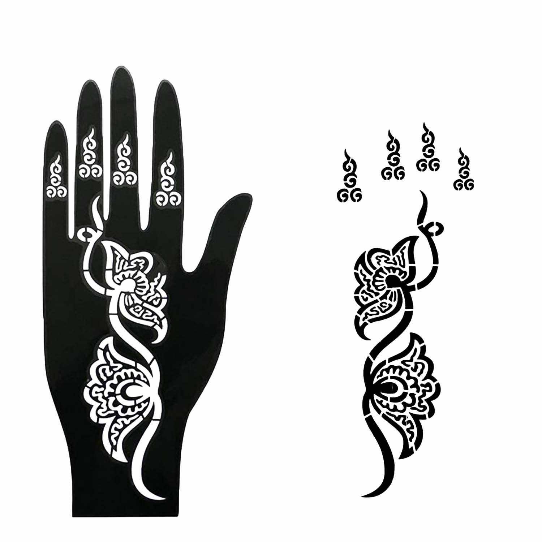 Tatuaje de Henna reutilizable plantilla temporal pegatina para hombres mujeres adolescentes mano dedo pintura corporal boda fiesta de cumpleaños