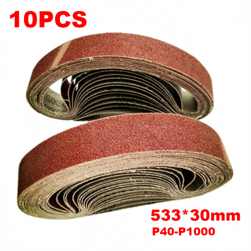 10pcs 30*533mm Sanding Belt 40-1000 Grit Aluminium Oxide Sander Grinder Belt Dremel Accessories For Polishing Grinding