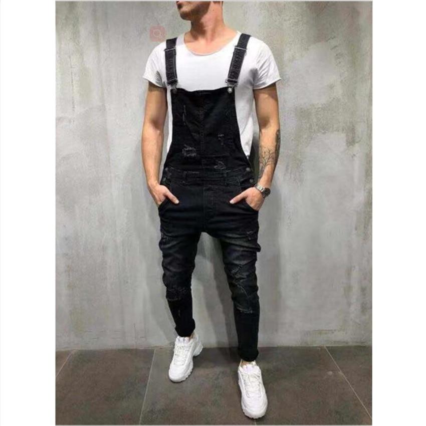 Комбинезон мужской джинсовый в стиле Хай-стрит, рваный комбинезон из потертого денима, брюки на подтяжках, джинсовые штаны, размеры XXXL