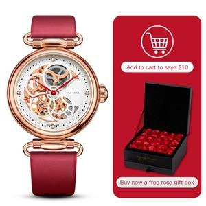 Image 1 - Seagull mechanical watch women fashion watch Leather strap Waterproof automatic watch Full hollow mechanical watch 811.11.6002L