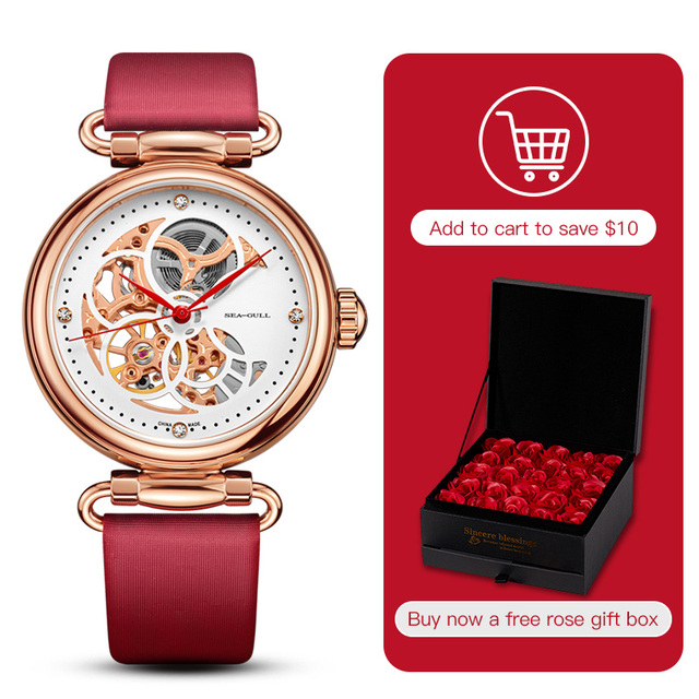 Seagull mechanical watch women fashion watch Leather strap Waterproof automatic watch Full hollow mechanical watch 811.11.6002L