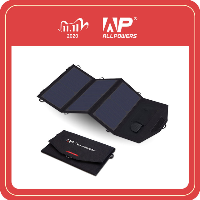 ALLPOWERS 18V 21W Solar Charger Panel Waterproof Foldable Solar Power Bank for 12v Car Battery Mobile Phone Outdoor Hiking