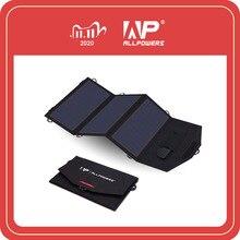 Allpowers 18v 21w painel de carregador solar dobrável à prova dwaterproof água banco energia solar para 12v bateria carro telefone móvel caminhadas ao ar livre
