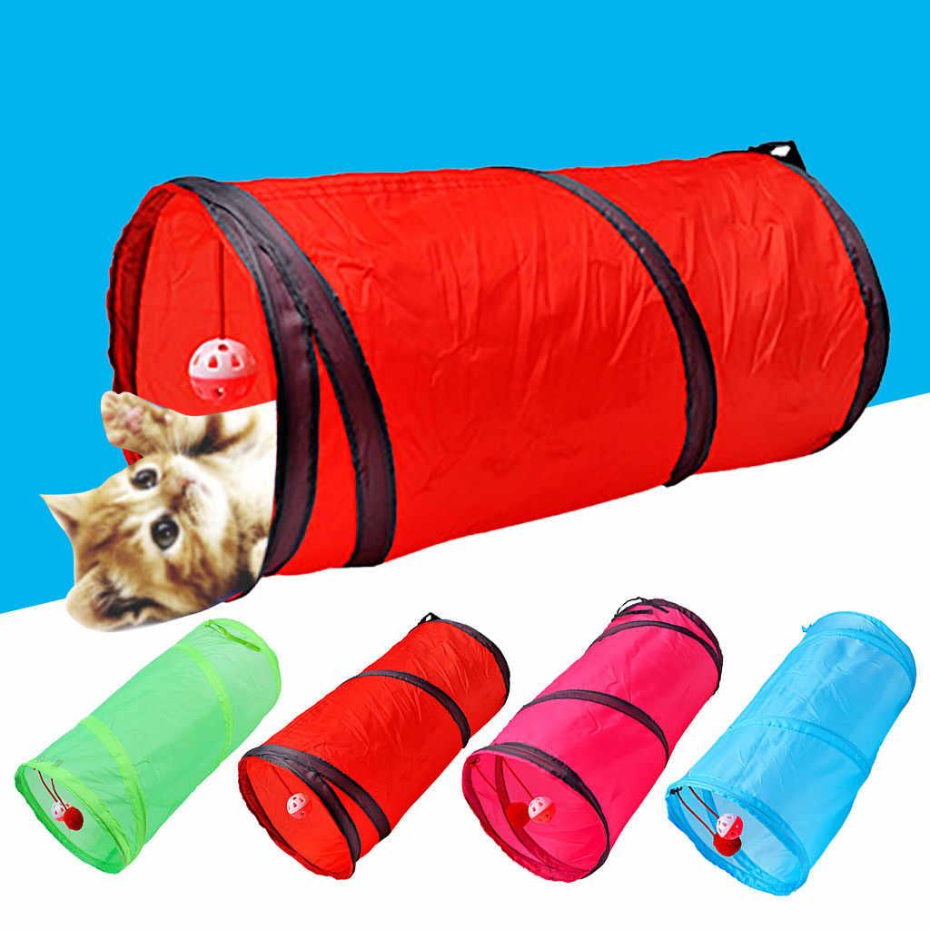 1pc 115g 애완 동물 게임 터널 재미 애완 동물 고양이 개 터널 2 구멍 게임 튜브 공 접는 배 게임 터널 튜브 애완 동물 용품 2020 새로운