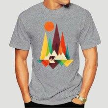 Camiseta para ano novo de 2021 moda masculina montanha urso