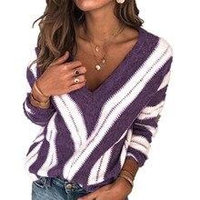 Xxxxxl женский зимний свитер Модный женский свитер в полоску с v-образным вырезом вязаный длинный свитер женский топ