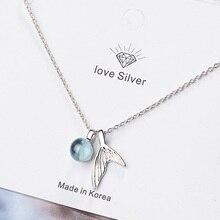 Ожерелье из стерлингового серебра 925 пробы с искусственным синим кристаллом для женщин, модные украшения, новинка 2020